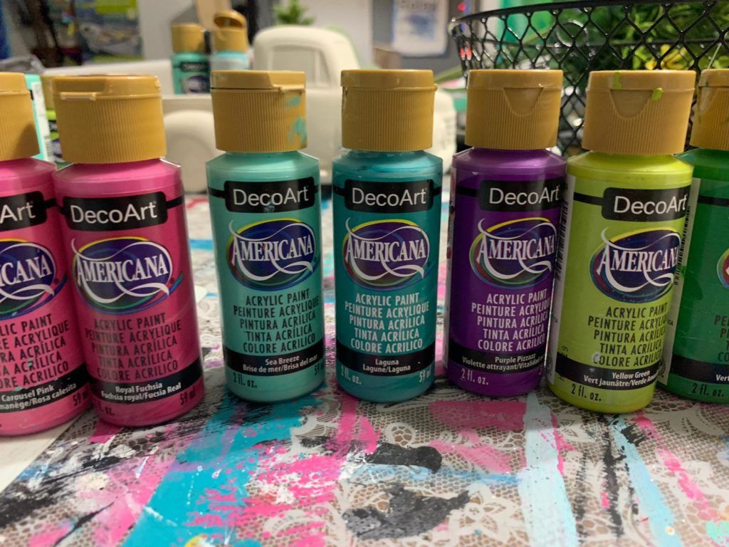 Different colors of decoart paint