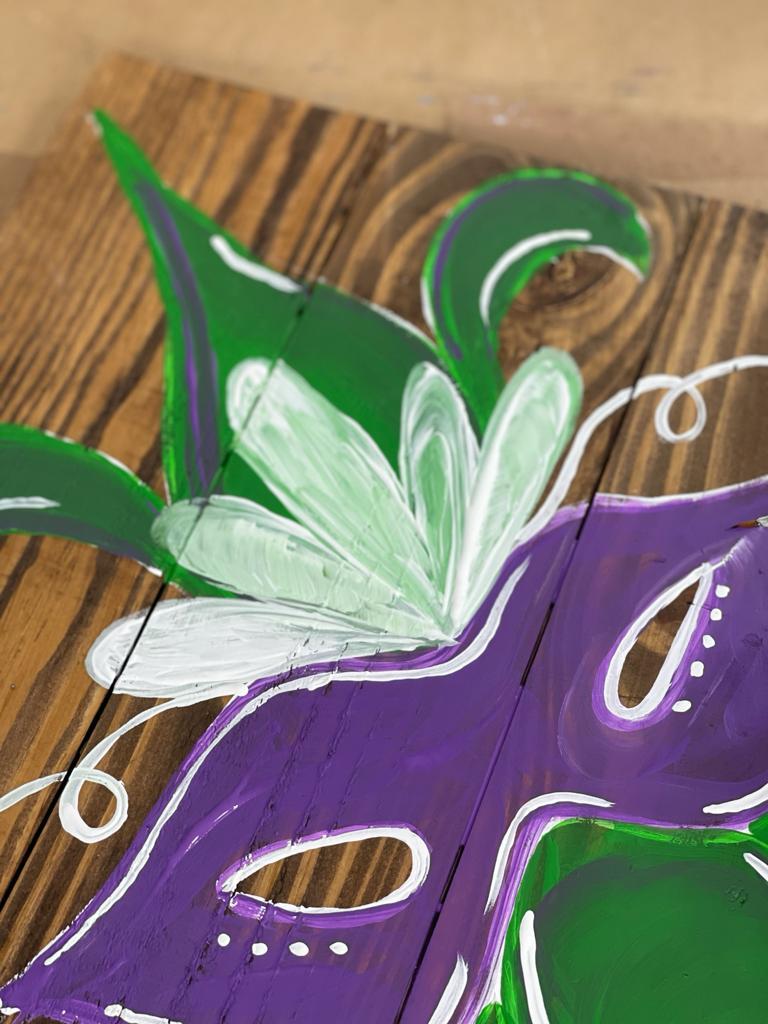 Painting on wood of Mardi Gras Mask and Fleur De Lis