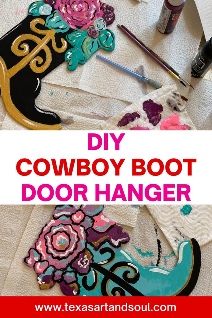 DIY Cowboy Boot Door Hanger Pin for Pinterest