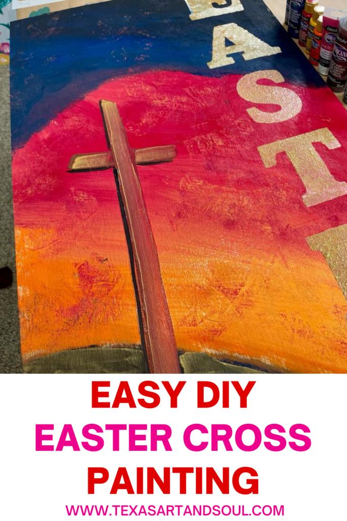 Easter Cross Painting Pin for Pinterest