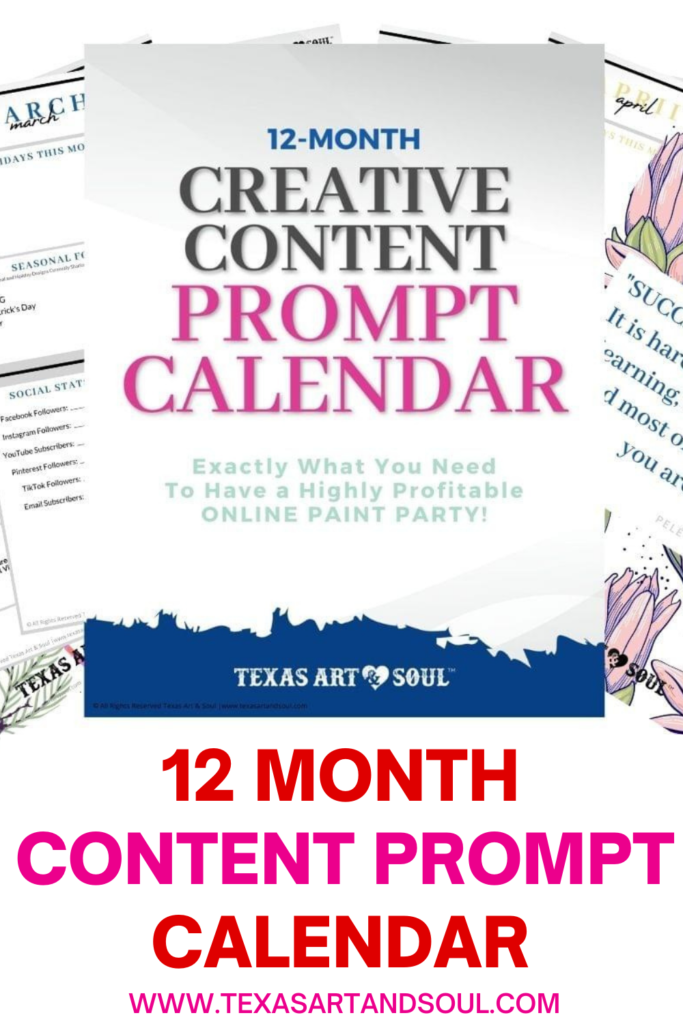12 Month Content Prompt Calendar Pin for Pinterest