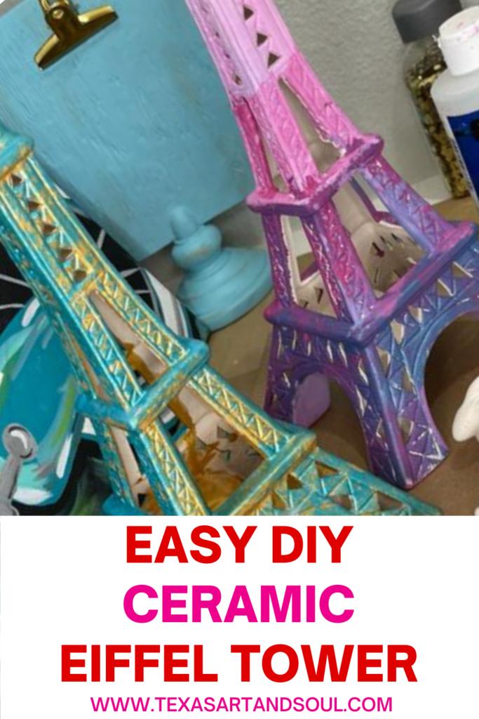DIY cermaic eiffel tower pin for pinterest