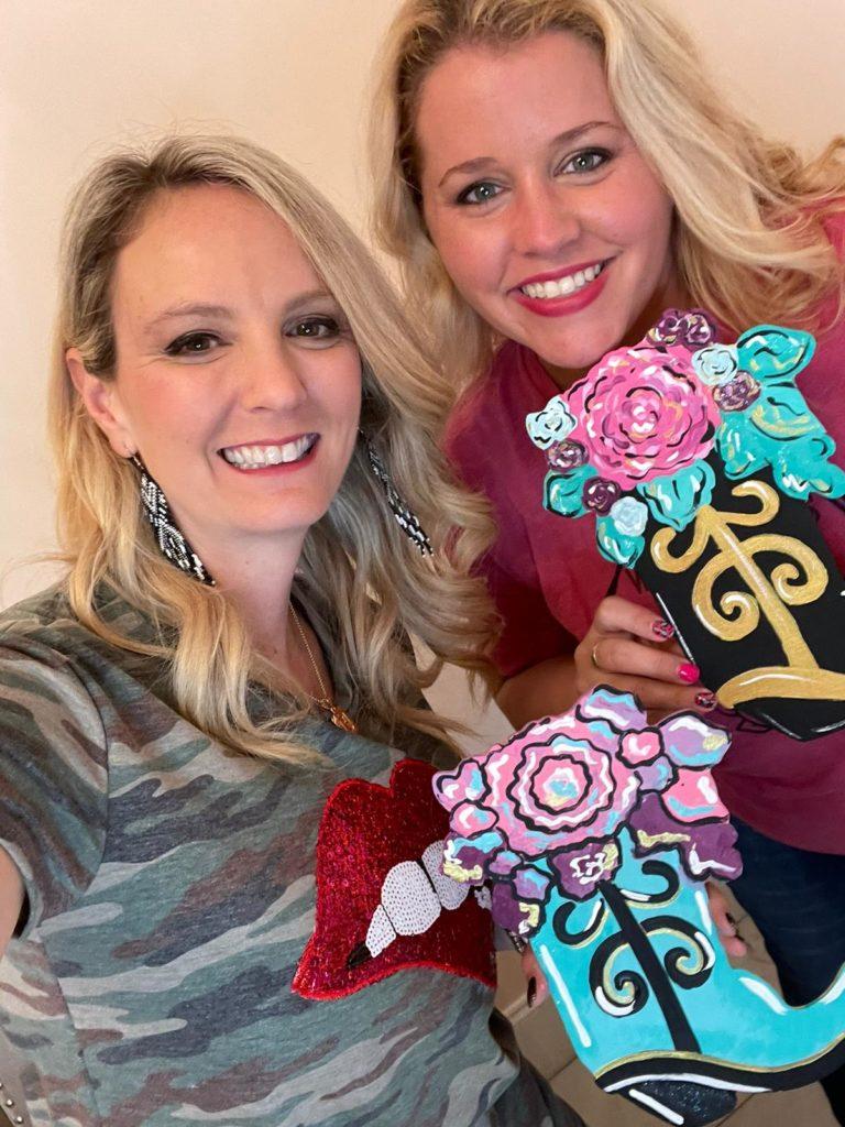 painted floral cowboy boot door hanger with Heidi and Tamara