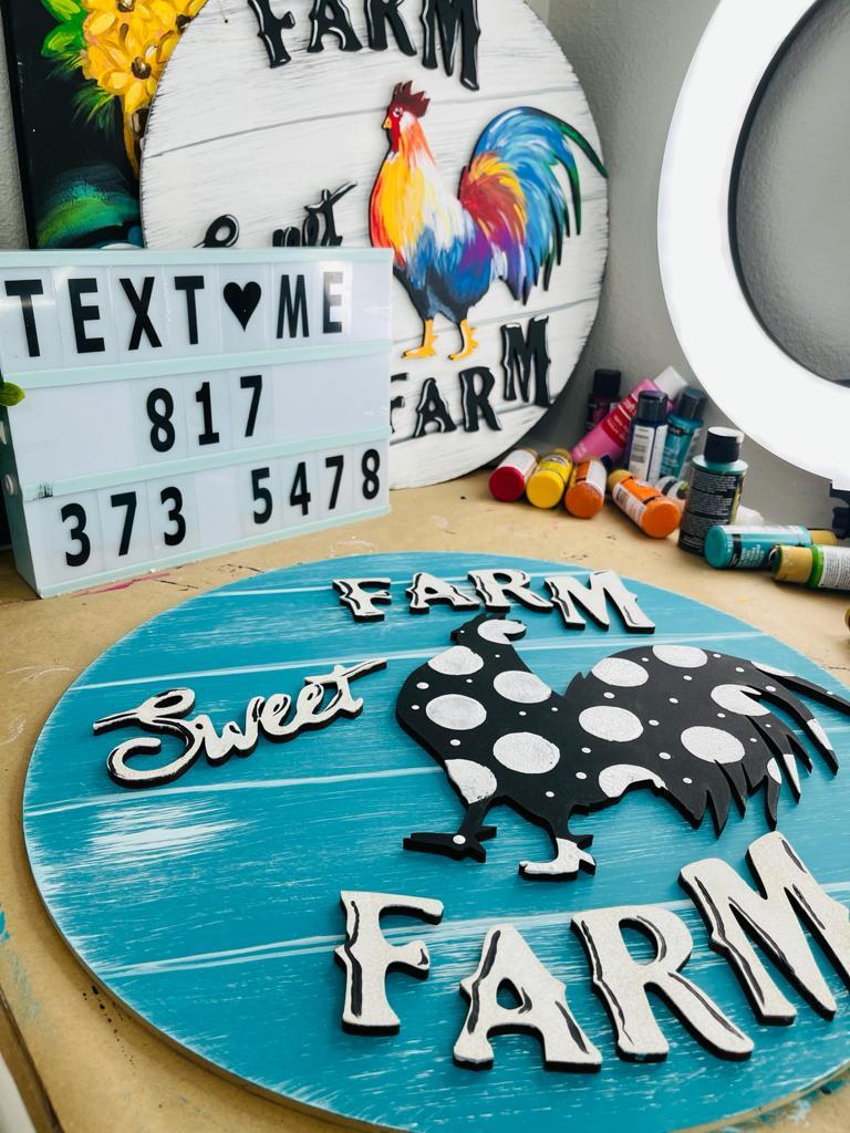 rustic farm sweet farm door hangers