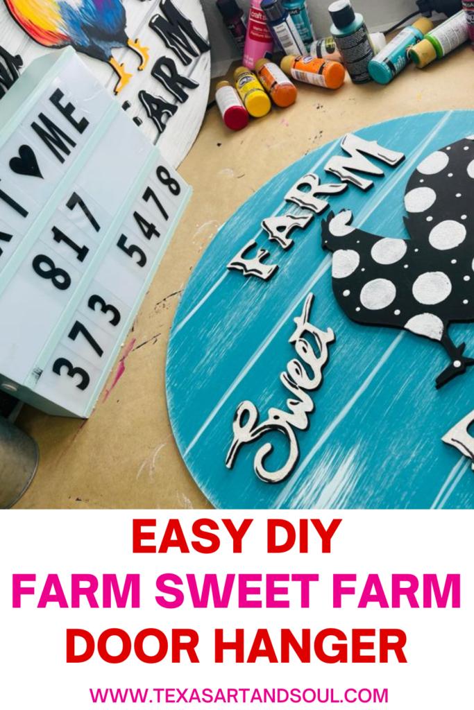 easy diy farm sweet farm door hanger pinterest pin with image of painted door hanger