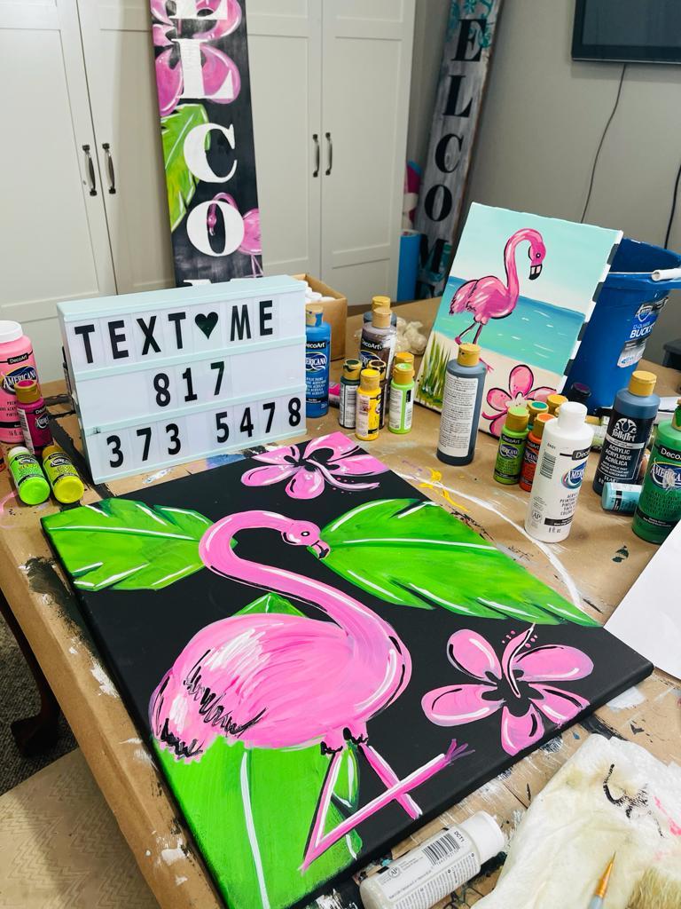 paintings of flamingos