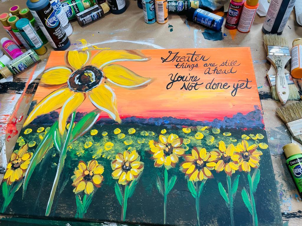 acrylic painting of sunflowers by Heidi Easley