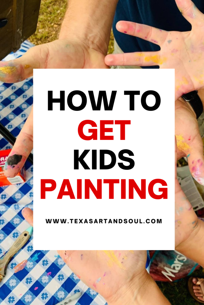 how to get kids painting with image of hands covered in paint