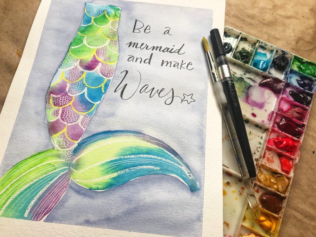 mermaid tail watercolor painting by Amanda Schmitt