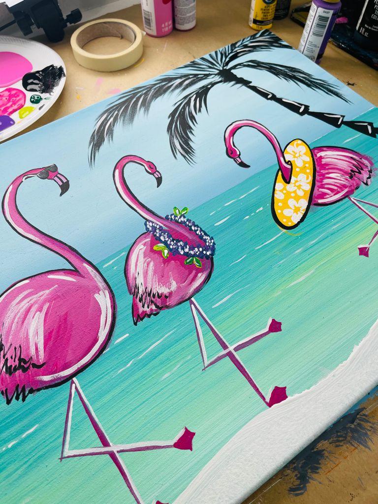 acrylic painting of flamingos on the beach