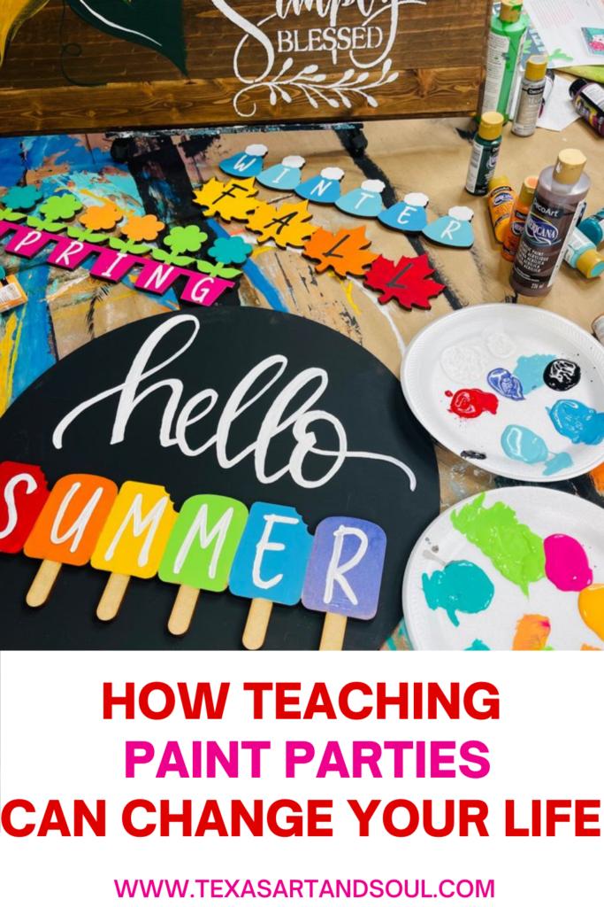 how teaching paint parties can change your lift with image of interchangeable seasonal door hanger