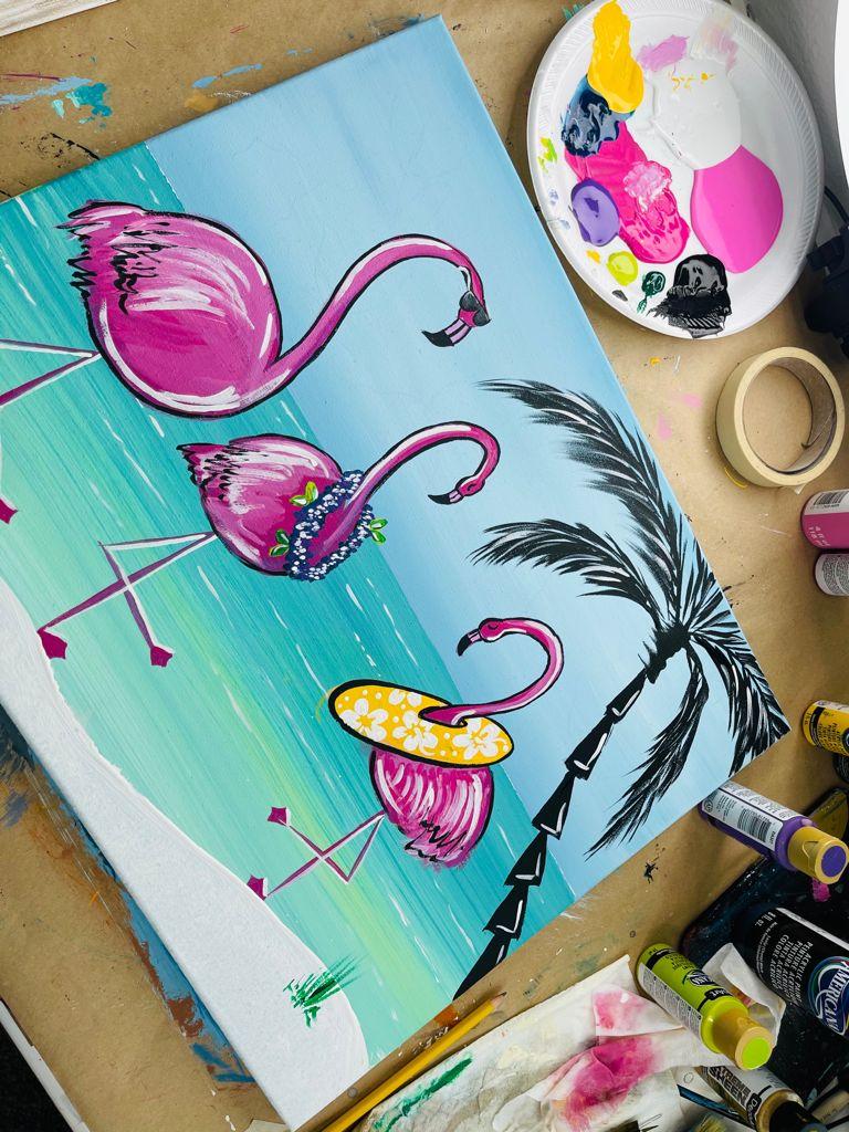 fun flamingo family painting