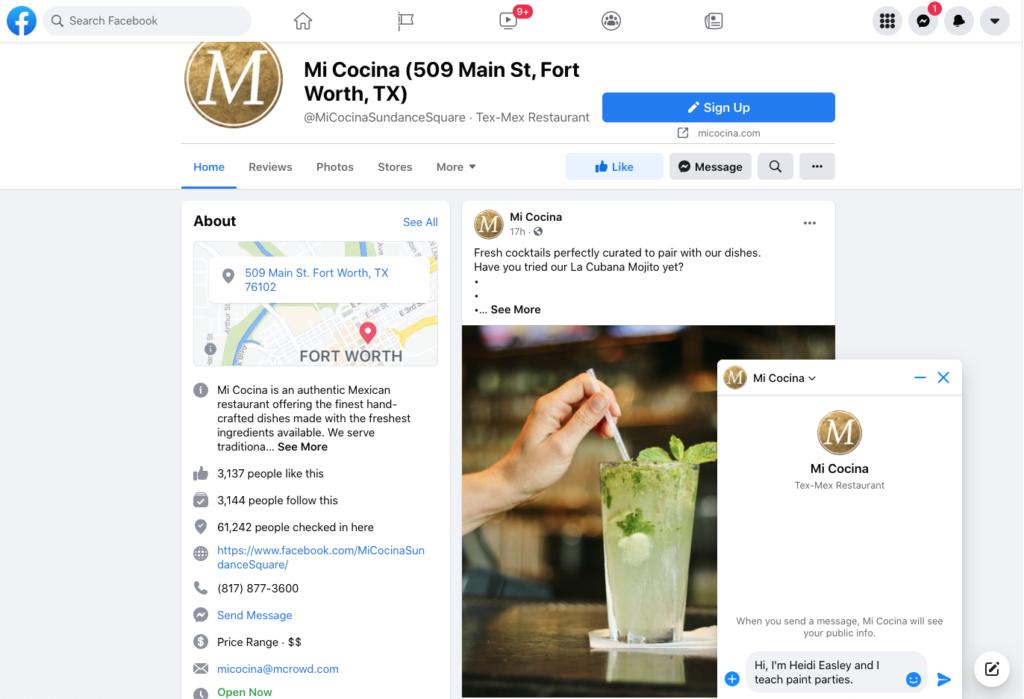 screenshot of facebook - messaging a venue for an event
