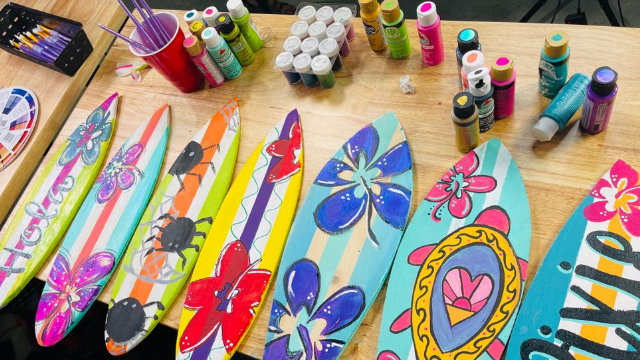 Step-by-Step Painting Tutorial | How to Paint Adorable Mini Decorative Surfboards