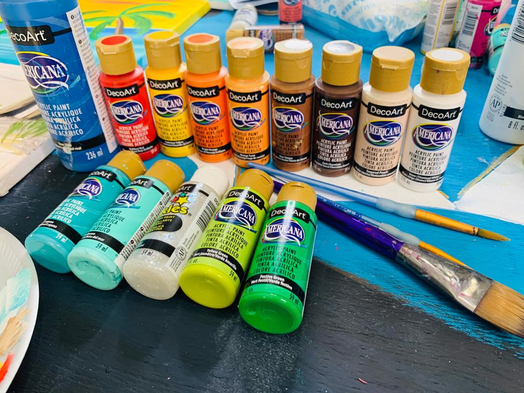 acrylic paint and paint brushes