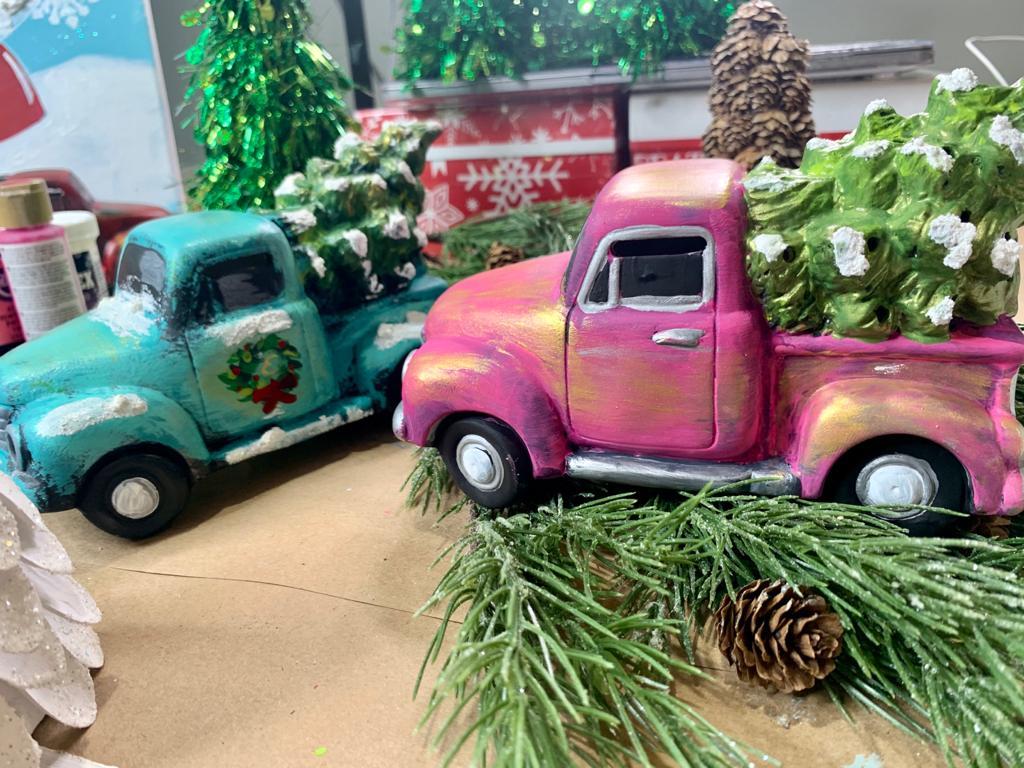 mini ceramic truck with Christmas tree lanterns