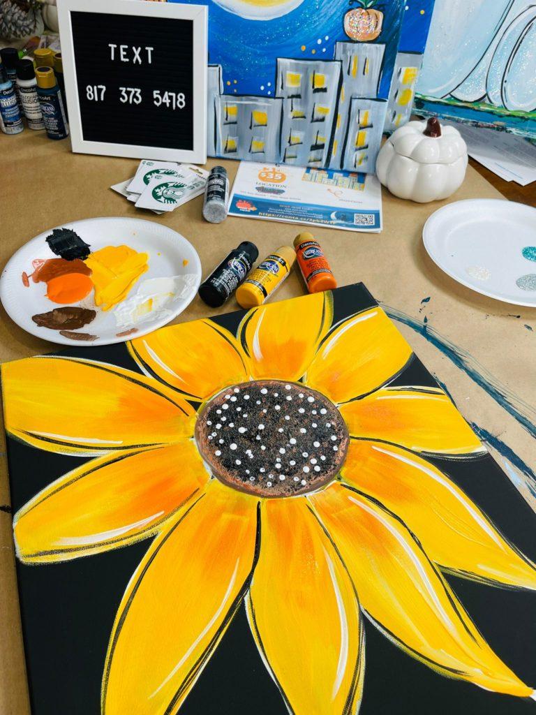 sunflower painting, acrylic on canvas