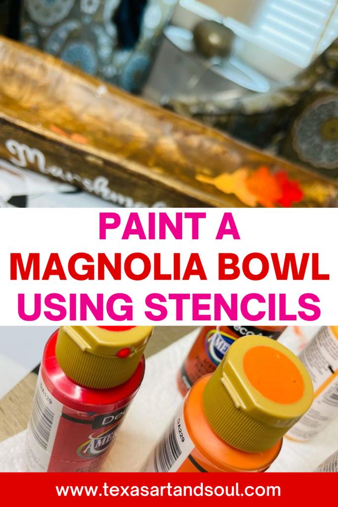 paint a magnolia bowl using stencils pinterest image