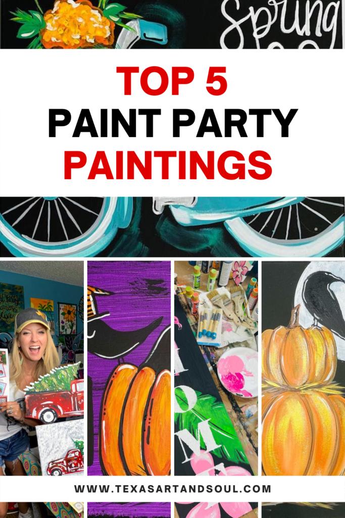 Top 5 paint party paintings pinterest image