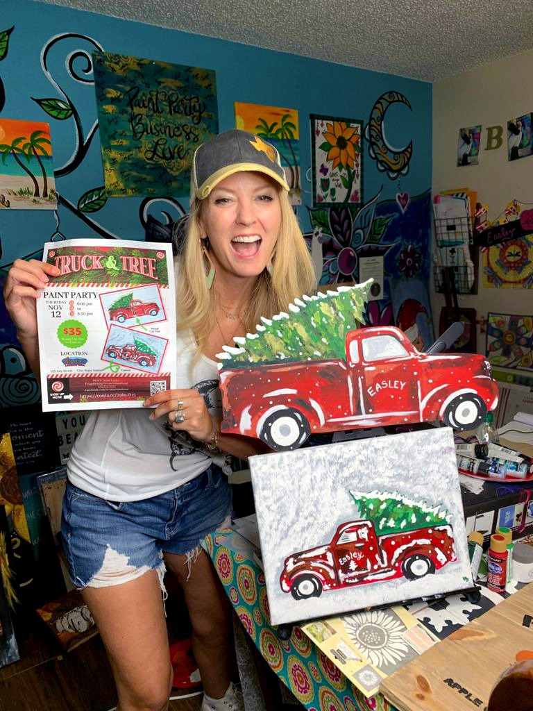 Texas art and soul #1 paint party best seller - truck and tree